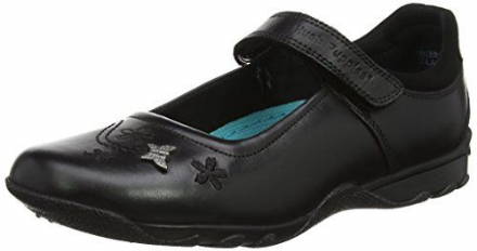 HUSH PUPPIES Clare Velcro Leather School Shoe (Black)